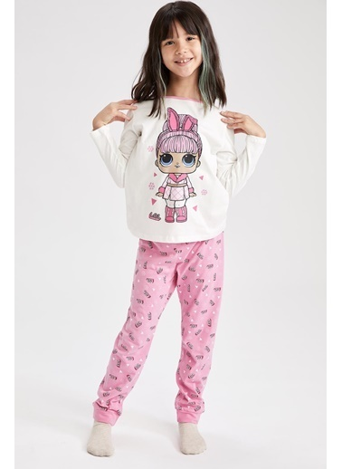 DeFacto Kız Çocuk L.O.L Lisanslı Pijama Takımı Beyaz